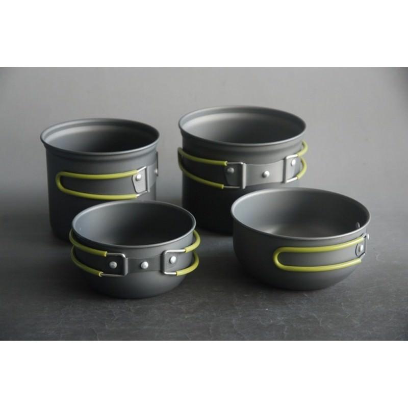 Набор кемпинговой посуды 4 в 1 – анодированный алюминий, складные ручки