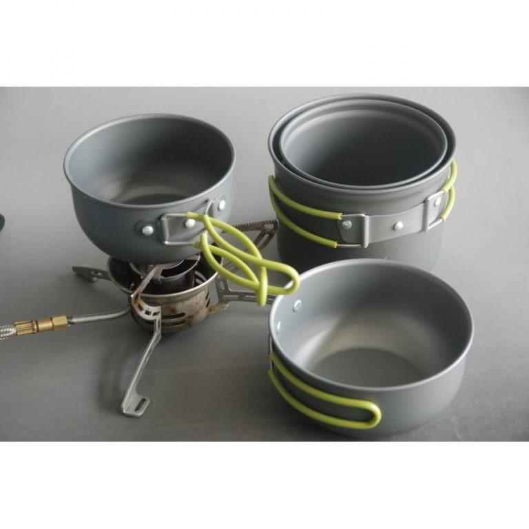 11513 - Набор кемпинговой посуды 4 в 1 - анодированный алюминий, складные ручки