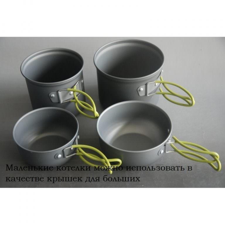 11515 - Набор кемпинговой посуды 4 в 1 - анодированный алюминий, складные ручки