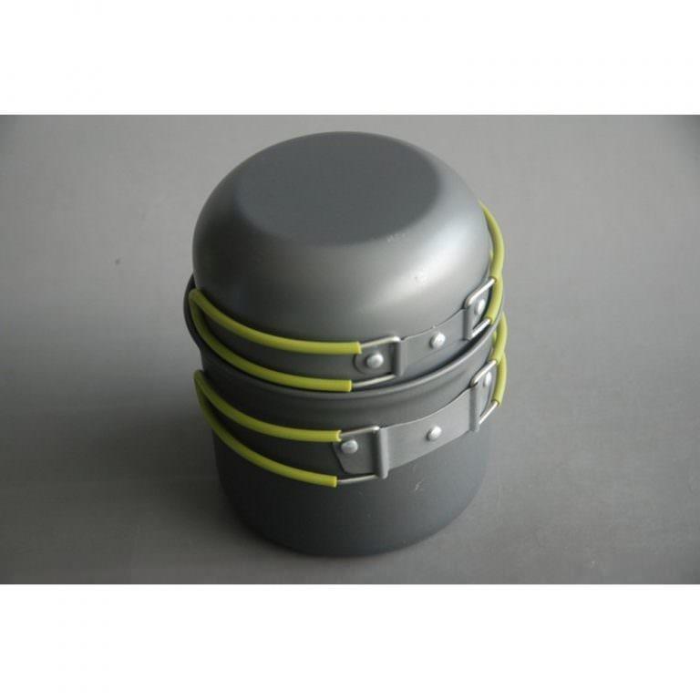 11517 - Набор кемпинговой посуды 4 в 1 - анодированный алюминий, складные ручки