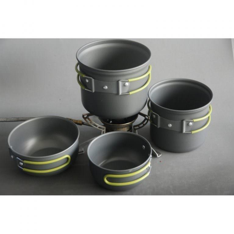 11519 - Набор кемпинговой посуды 4 в 1 - анодированный алюминий, складные ручки