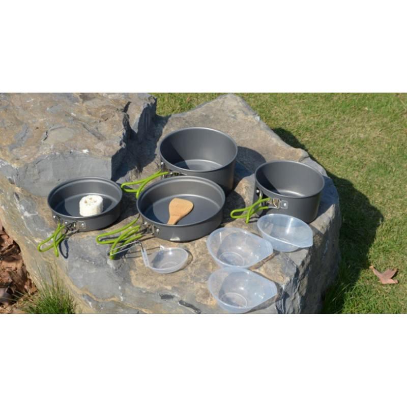 Набор походной посуды на 3 персоны DS-301: 10 предметов, анодированный алюминий 192574