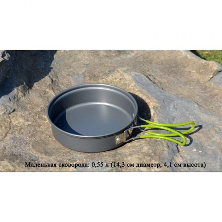 11577 - Набор походной посуды на 3 персоны DS-301: 10 предметов, анодированный алюминий