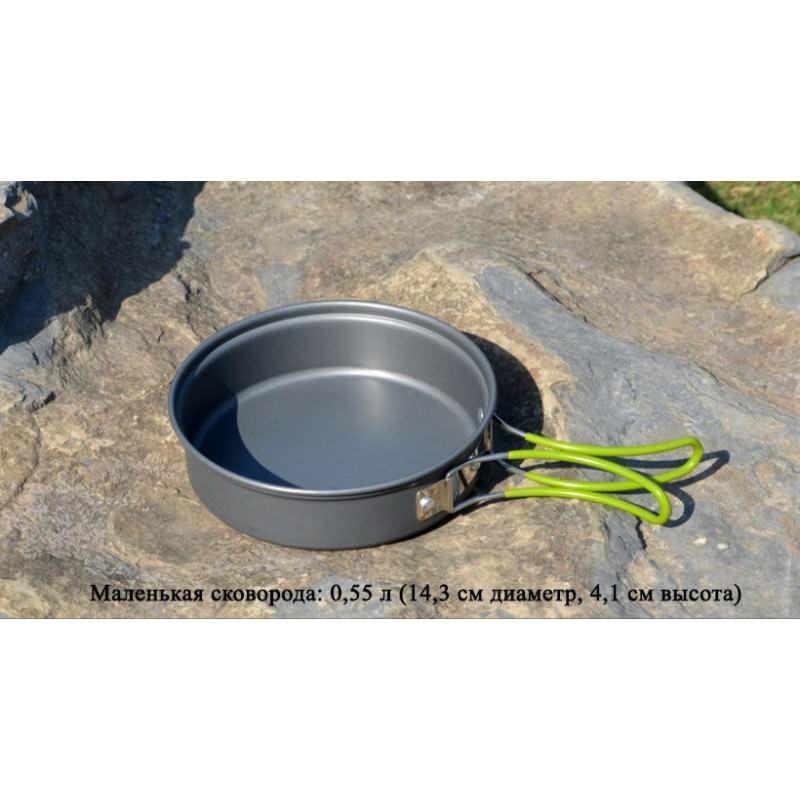 Набор походной посуды на 3 персоны DS-301: 10 предметов, анодированный алюминий 192575