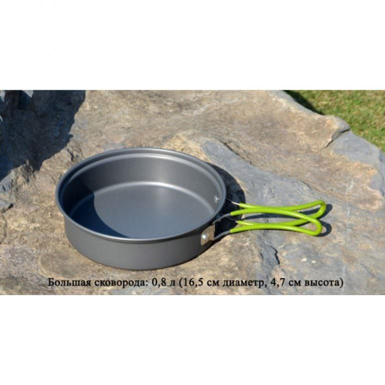 11578 - Набор походной посуды на 3 персоны DS-301: 10 предметов, анодированный алюминий