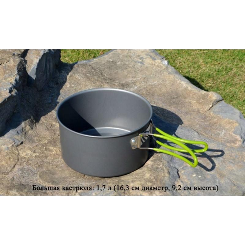 Набор походной посуды на 3 персоны DS-301: 10 предметов, анодированный алюминий 192577
