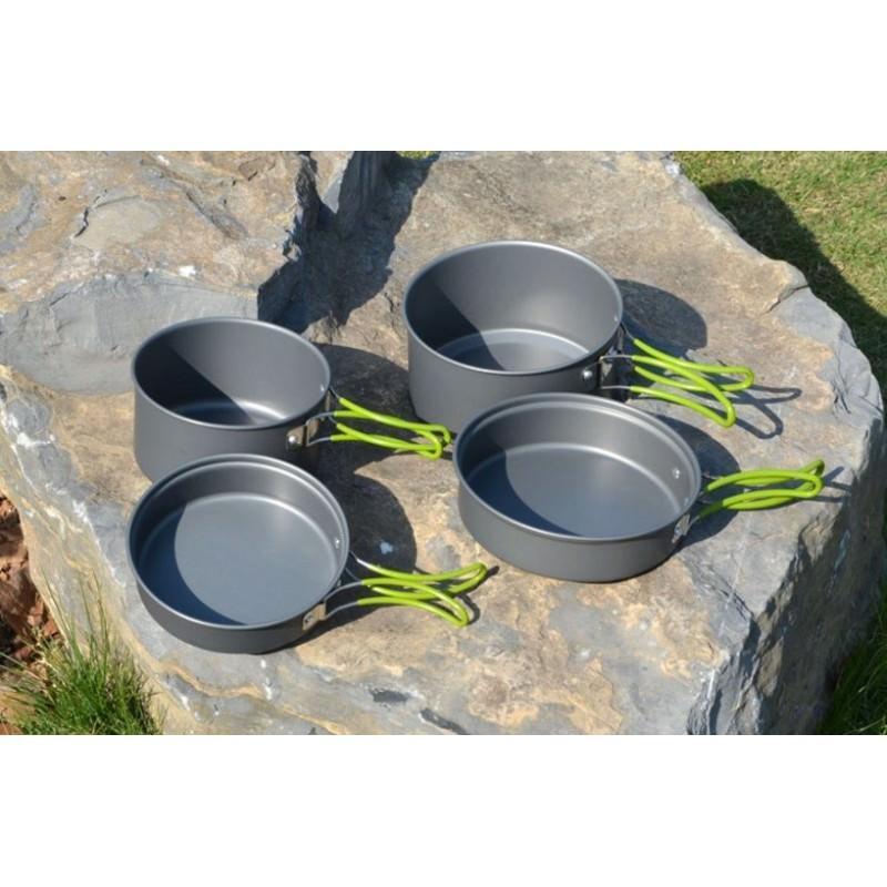 Набор походной посуды на 3 персоны DS-301: 10 предметов, анодированный алюминий 192579