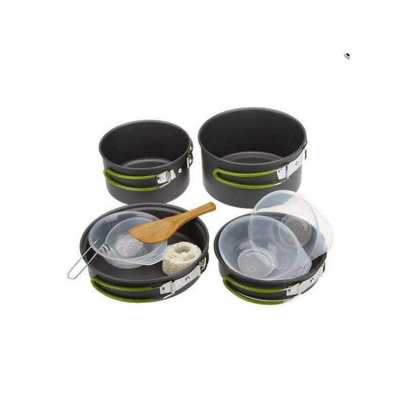 Набор походной посуды на 3 персоны DS-301: 10 предметов, анодированный алюминий
