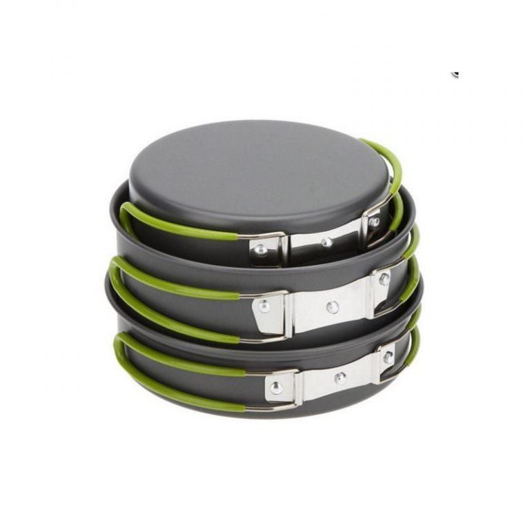 11588 - Набор походной посуды на 3 персоны DS-301: 10 предметов, анодированный алюминий