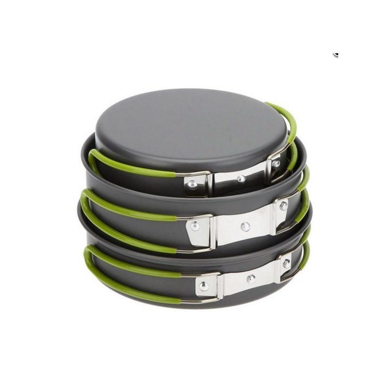 Набор походной посуды на 3 персоны DS-301: 10 предметов, анодированный алюминий 192582