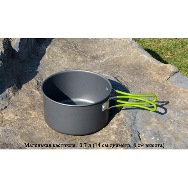 Набор походной посуды на 3 персоны DS-301: 10 предметов, анодированный алюминий 192583