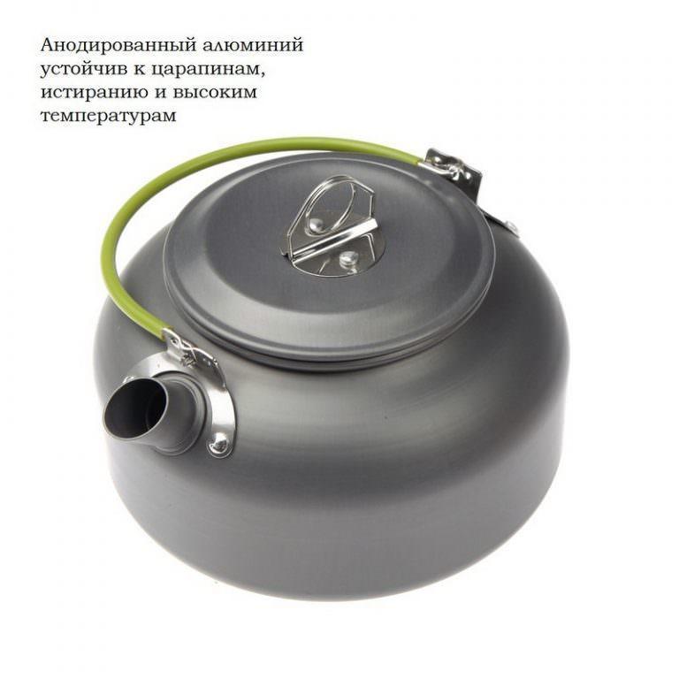 11650 - Портативный чайник для кемпинга - алюминиевый сплав, складные ручки, 0.8 л
