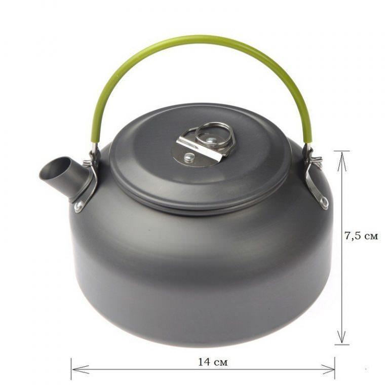 11651 - Портативный чайник для кемпинга - алюминиевый сплав, складные ручки, 0.8 л