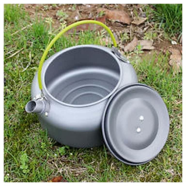 11657 - Портативный чайник для кемпинга - алюминиевый сплав, складные ручки, 0.8 л