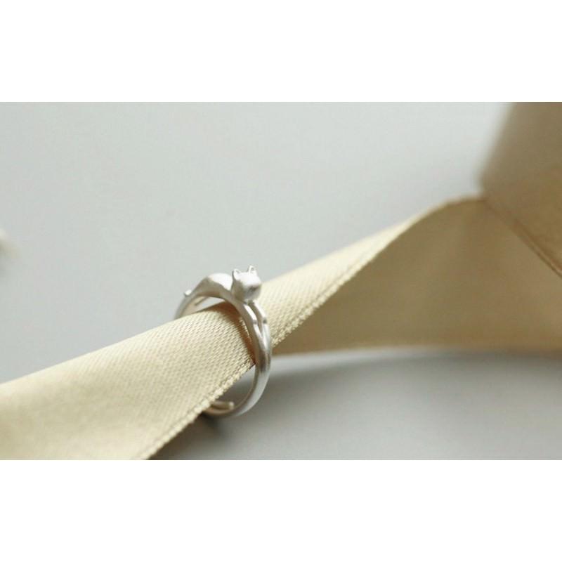 Серебристое кольцо Lazy Cat 192854