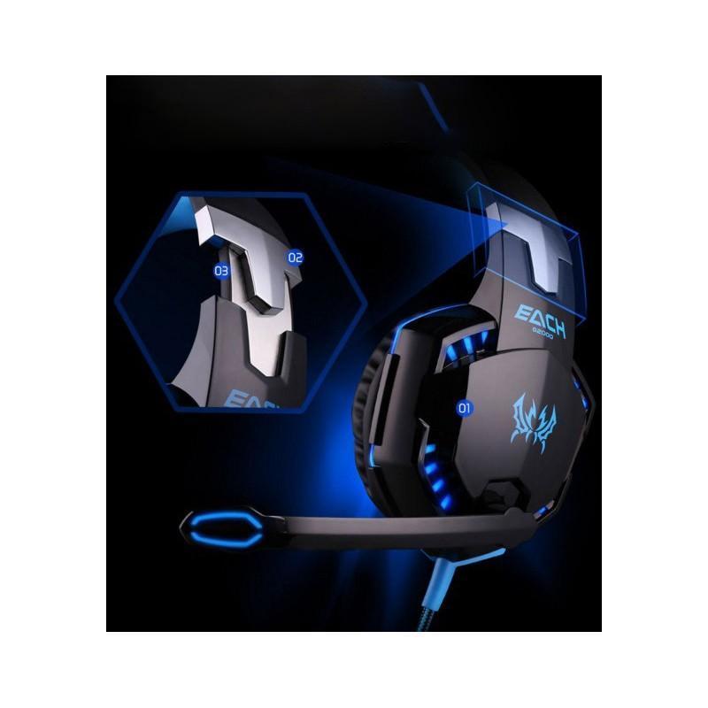 Игровые наушники Kotion Each G2000 Pro Gaming (Original) с микрофоном, шумоподавление, кабель 2.2 м, светодиодная подсветка 185007