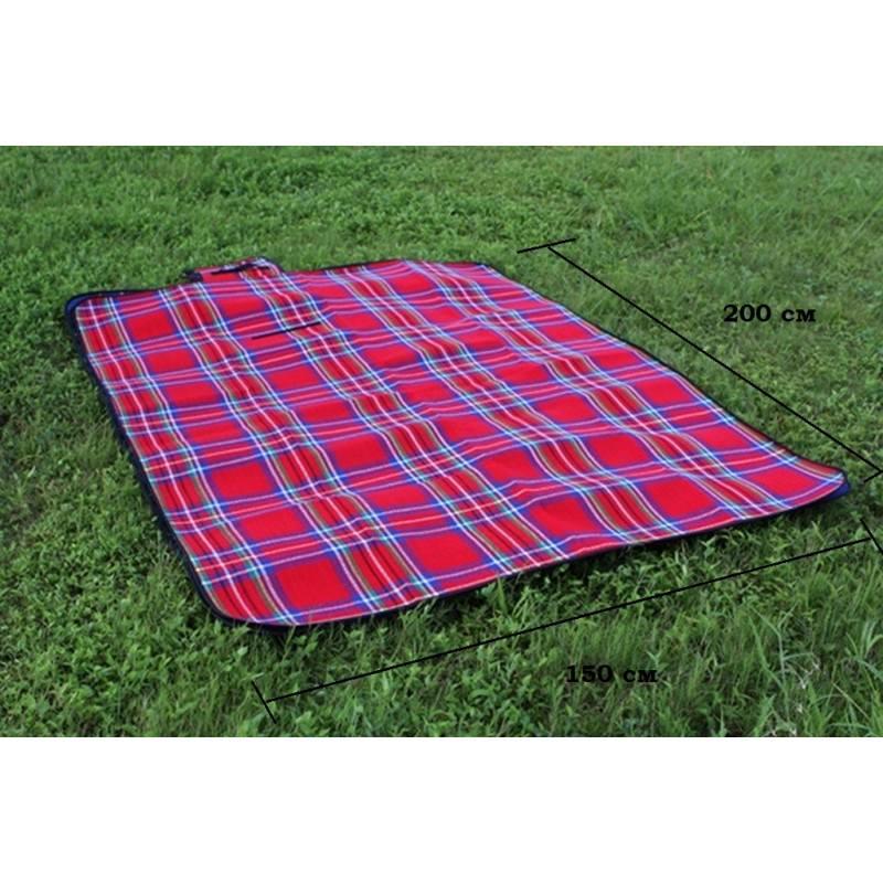 Кашемировый коврик/плед/одеяло для пикника - водонепроницаемая подкладка, 150 х 200 см, 3 цвета - Красный