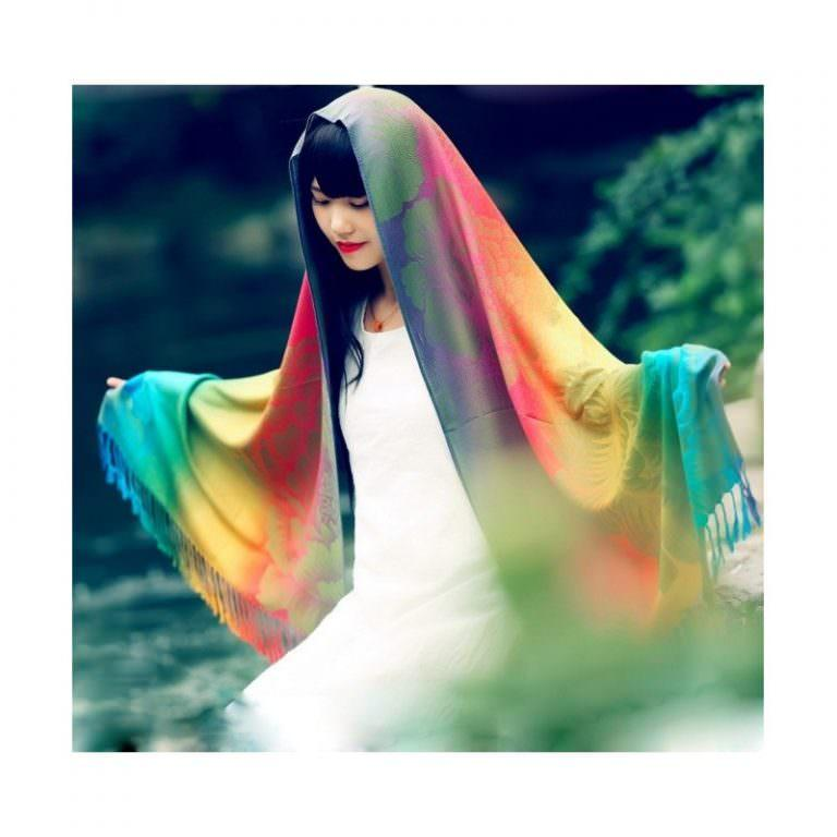 12344 - Яркий шарф-палантин Trefille SunDay: 185 х 70 см, 6 расцветок