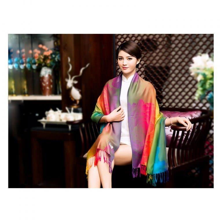 12349 - Яркий шарф-палантин Trefille SunDay: 185 х 70 см, 6 расцветок