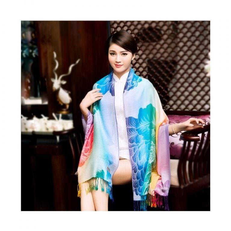 12350 - Яркий шарф-палантин Trefille SunDay: 185 х 70 см, 6 расцветок