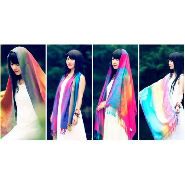 12351 - Яркий шарф-палантин Trefille SunDay: 185 х 70 см, 6 расцветок
