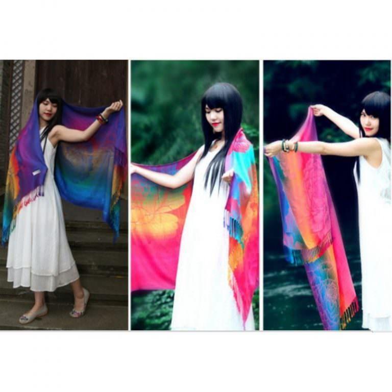 12352 - Яркий шарф-палантин Trefille SunDay: 185 х 70 см, 6 расцветок