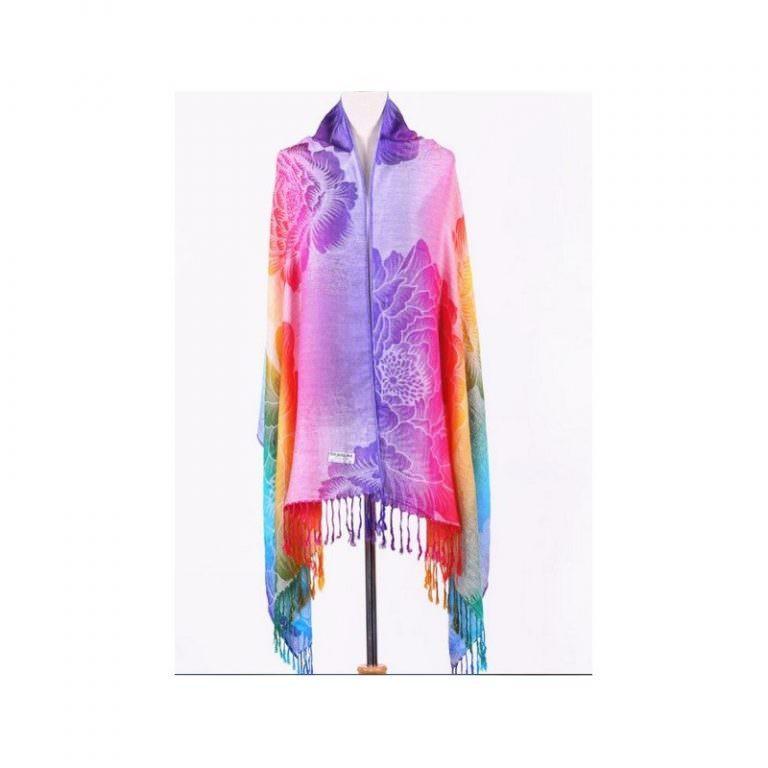 12372 - Яркий шарф-палантин Trefille SunDay: 185 х 70 см, 6 расцветок