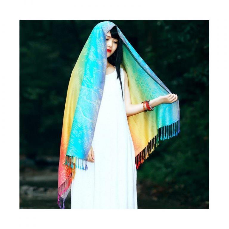 12384 - Яркий шарф-палантин Trefille SunDay: 185 х 70 см, 6 расцветок