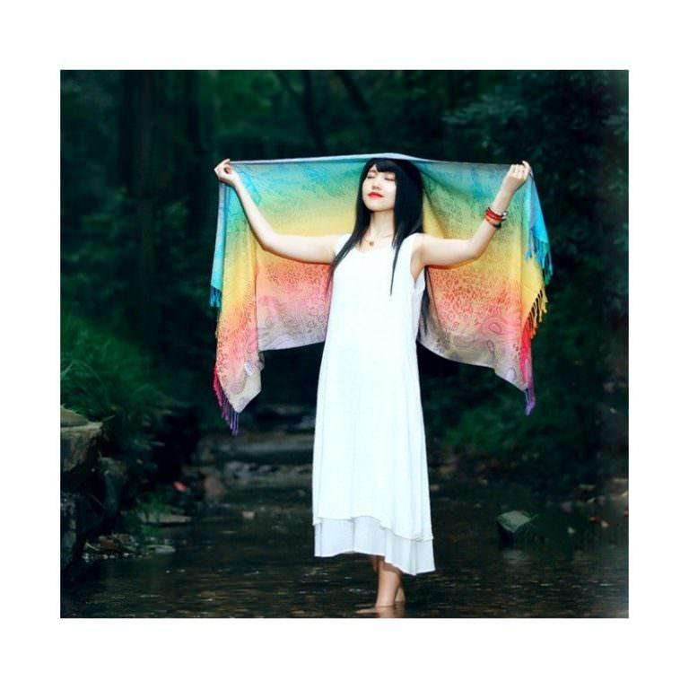 12390 - Яркий шарф-палантин Trefille SunDay: 185 х 70 см, 6 расцветок