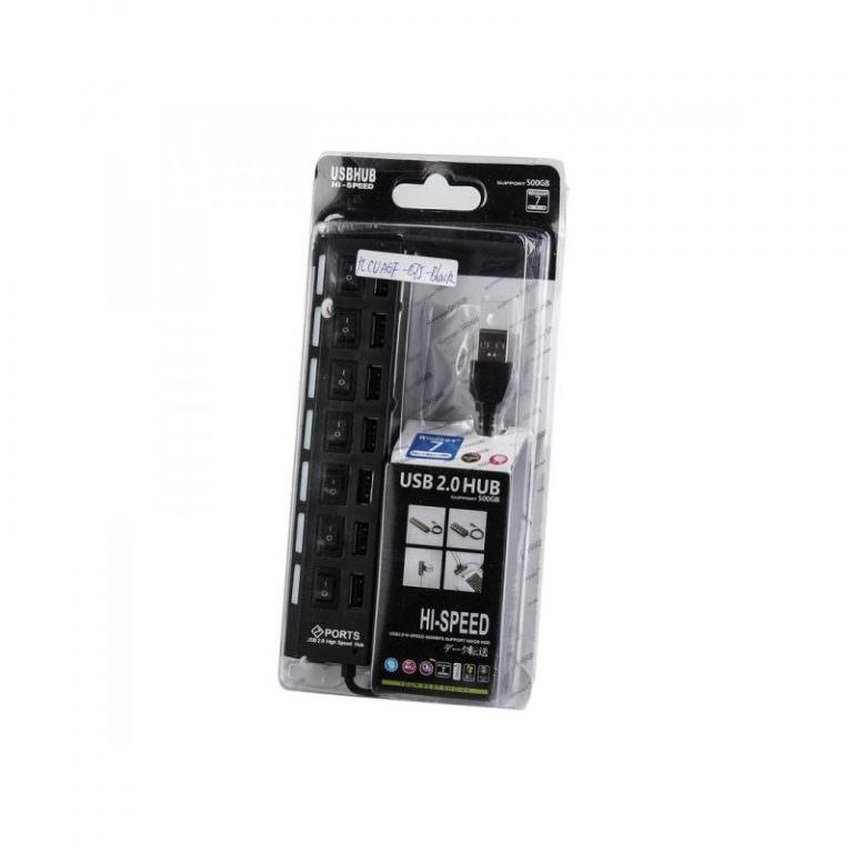 1239 - Высокоскоростной USB-концентратор на 7 портов с выключателями – 5 В, USB 2.0, 480 Мбит/с, Windows-совместимый