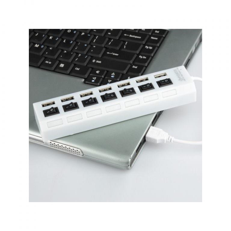 1241 - Высокоскоростной USB-концентратор на 7 портов с выключателями – 5 В, USB 2.0, 480 Мбит/с, Windows-совместимый