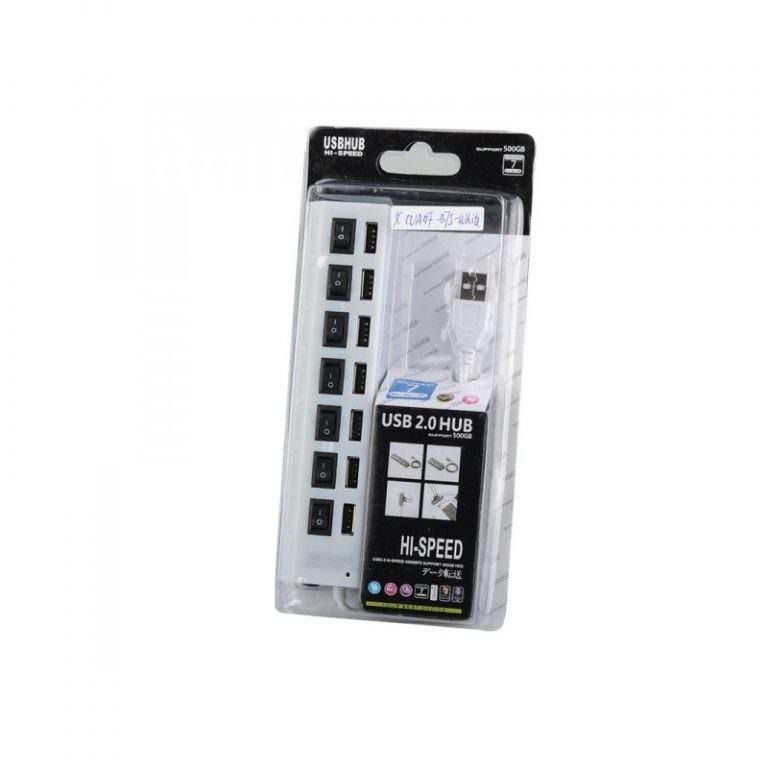 1242 - Высокоскоростной USB-концентратор на 7 портов с выключателями – 5 В, USB 2.0, 480 Мбит/с, Windows-совместимый