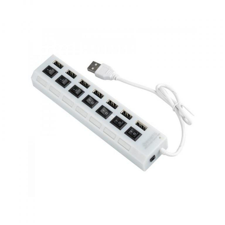 1244 - Высокоскоростной USB-концентратор на 7 портов с выключателями – 5 В, USB 2.0, 480 Мбит/с, Windows-совместимый