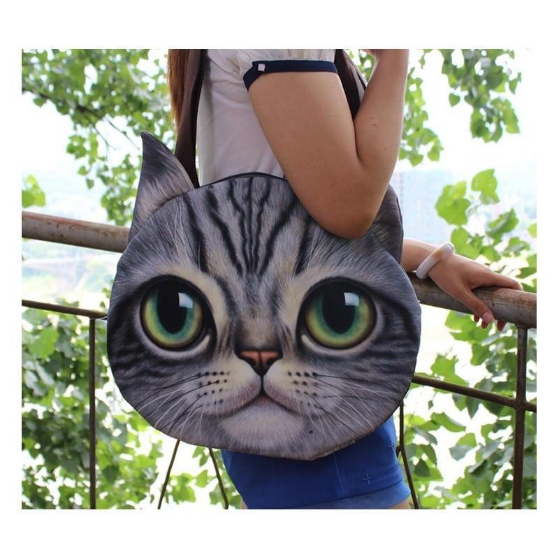 Эпатажные сумки-игрушки MiMi Animals с 3D-принтом Cats - Серый полосатый кот