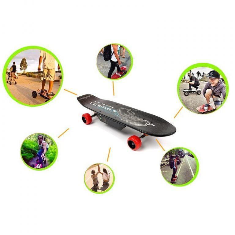 1266 - Электрический скейтборд Easy Go с дистанционным управлением для начинающих и детей от 14 лет – 150 Вт, 10000 мАч