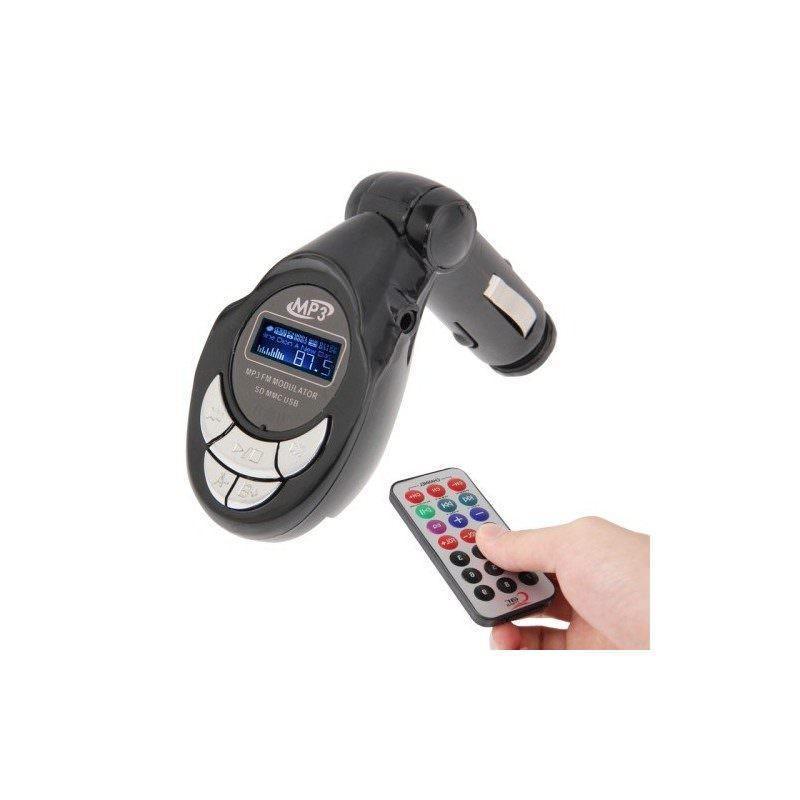 FM-модулятор автомобильный 4-в-1 MP3-4017 – MP3-плеер, поддержка USB-дисков, карт SD/MMC, ЖК-дисплей (черный)