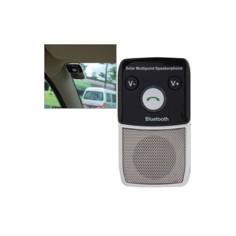 1299 - Автомобильный комплект для громкой связи на 2 телефона с солнечной панелью T-1903 –,присоски и зарядное устройство