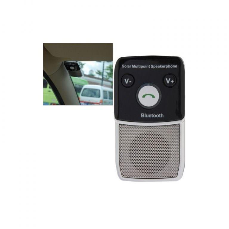 1300 - Автомобильный комплект для громкой связи на 2 телефона с солнечной панелью T-1903 –,присоски и зарядное устройство