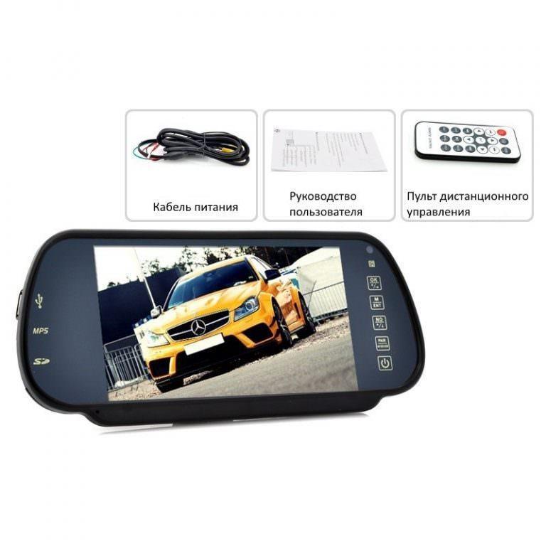 1314 - Многофункциональный 7-дюймовый монитор на зеркало заднего вида – Bluetooth-гарнитура, MP4-плеер, поддержка карт SD