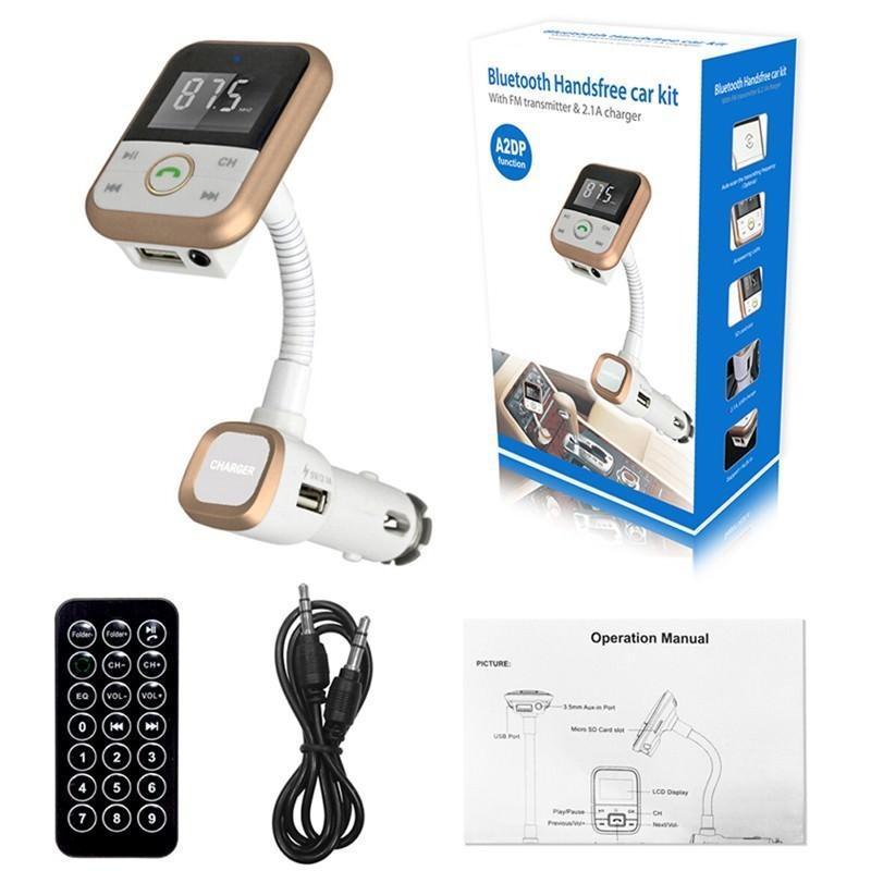 Беспроводной FM-трансмиттер + USB-зарядное + Bluetooth-гарнитура для автомобиля: SD-карта, 3,5 мм аудиовыход 194024