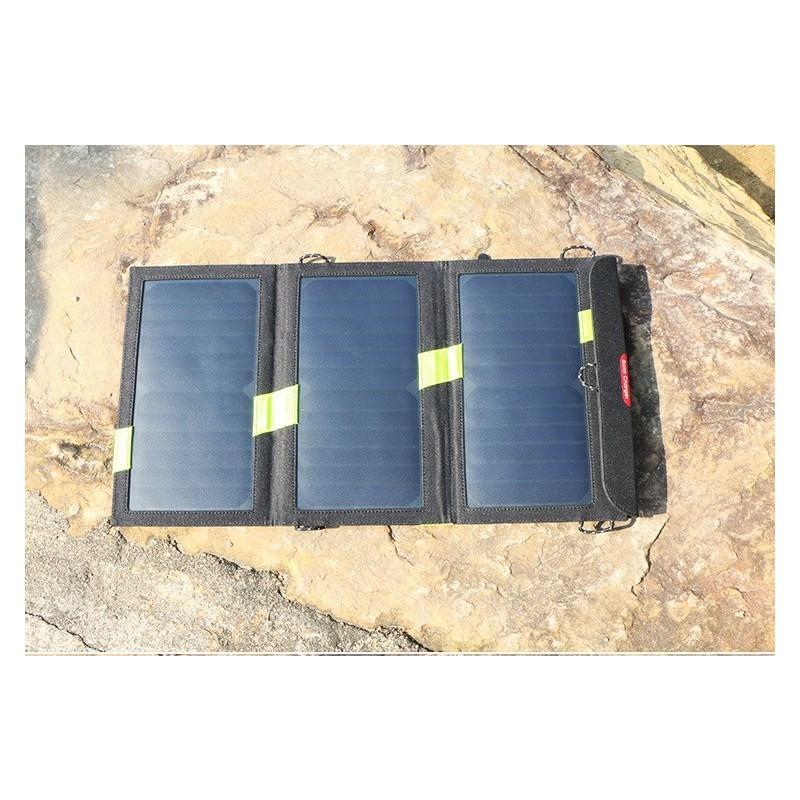 Солнечное зарядное Allpowers X-DRAGON 20Вт для мобильных телефонов и планшетов: 3 панели, 2  USB-порта, карабин 194100