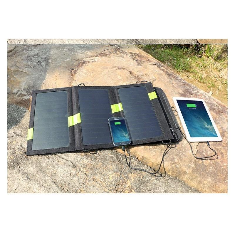 Солнечное зарядное Allpowers X-DRAGON 20Вт для мобильных телефонов и планшетов: 3 панели, 2  USB-порта, карабин 194104