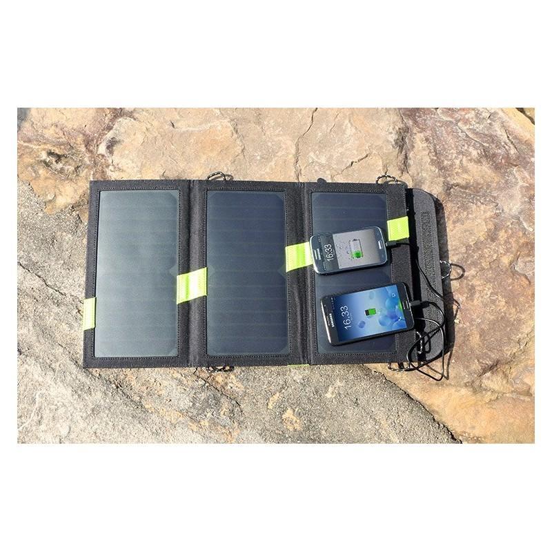 Солнечное зарядное Allpowers X-DRAGON 20Вт для мобильных телефонов и планшетов: 3 панели, 2  USB-порта, карабин 194105