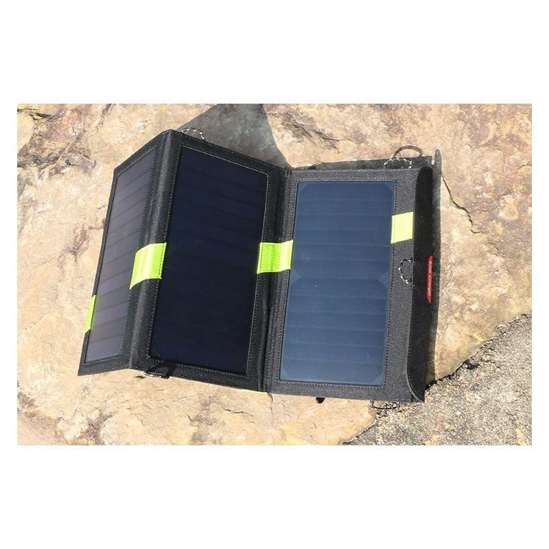 Солнечное зарядное Allpowers X-DRAGON 20Вт для мобильных телефонов и планшетов: 3 панели, 2  USB-порта, карабин