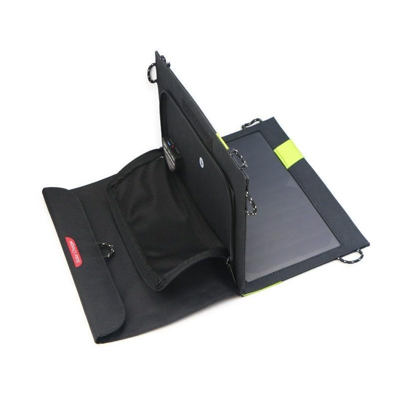 Солнечное зарядное Allpowers X-DRAGON 20Вт для мобильных телефонов и планшетов: 3 панели, 2  USB-порта, карабин 194108