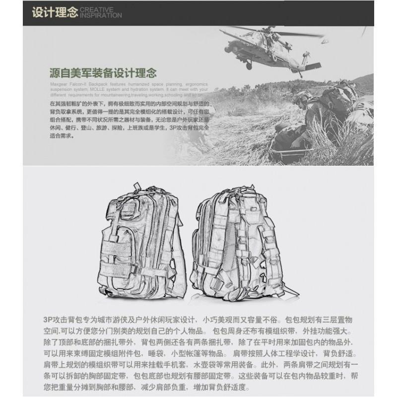13490 - Недорогой камуфляжный тактический рюкзак 3P-Zone с системой M.O.L.L.E: 30л, водоотталкивающий нейлон