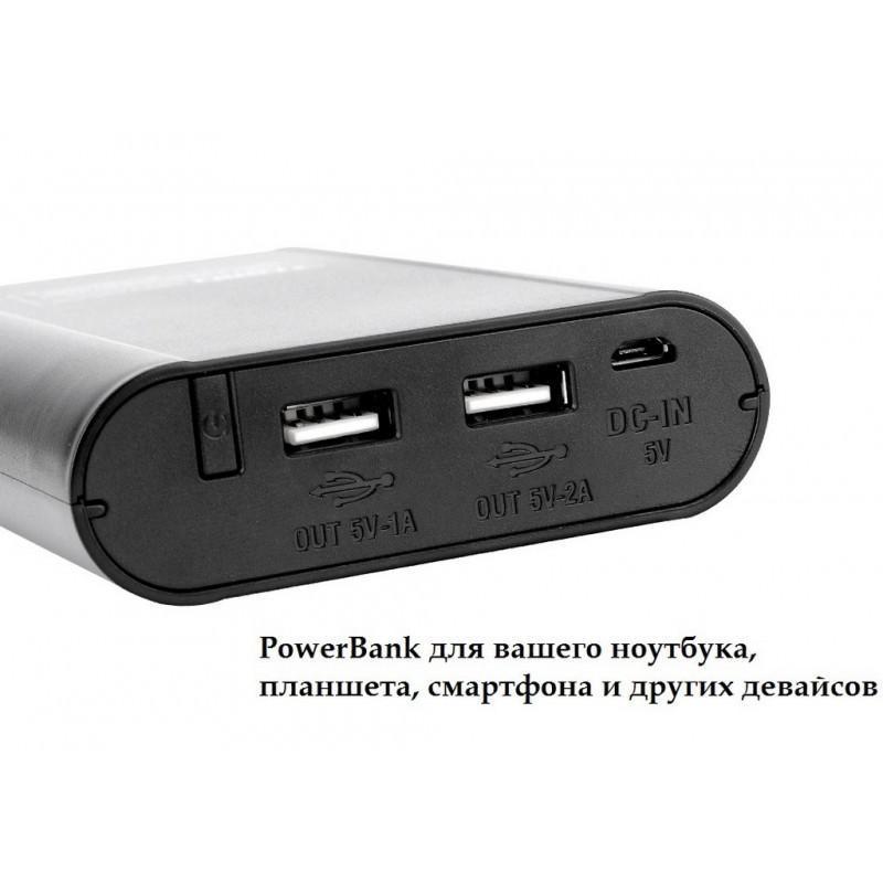 Портативное зарядное устройство для аккумуляторов Tomo с функцией PowerBank – ЖК-дисплей, 4 х 18650, 2 x USB 194133