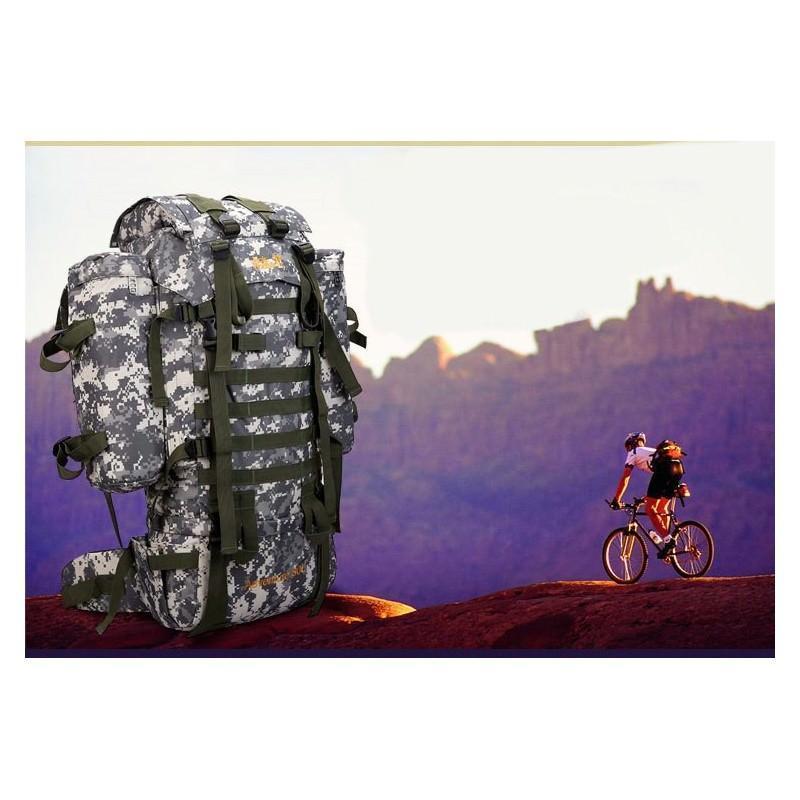 Комплект: Камуфляжный туристический рюкзак Jack Wolfskin 80 л с системой M.O.L.L.E + Портативное солнечное зарядное 7 Вт 194481