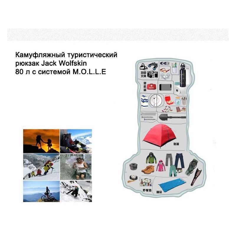 Комплект: Камуфляжный туристический рюкзак Jack Wolfskin 80 л с системой M.O.L.L.E + Портативное солнечное зарядное 7 Вт 194489