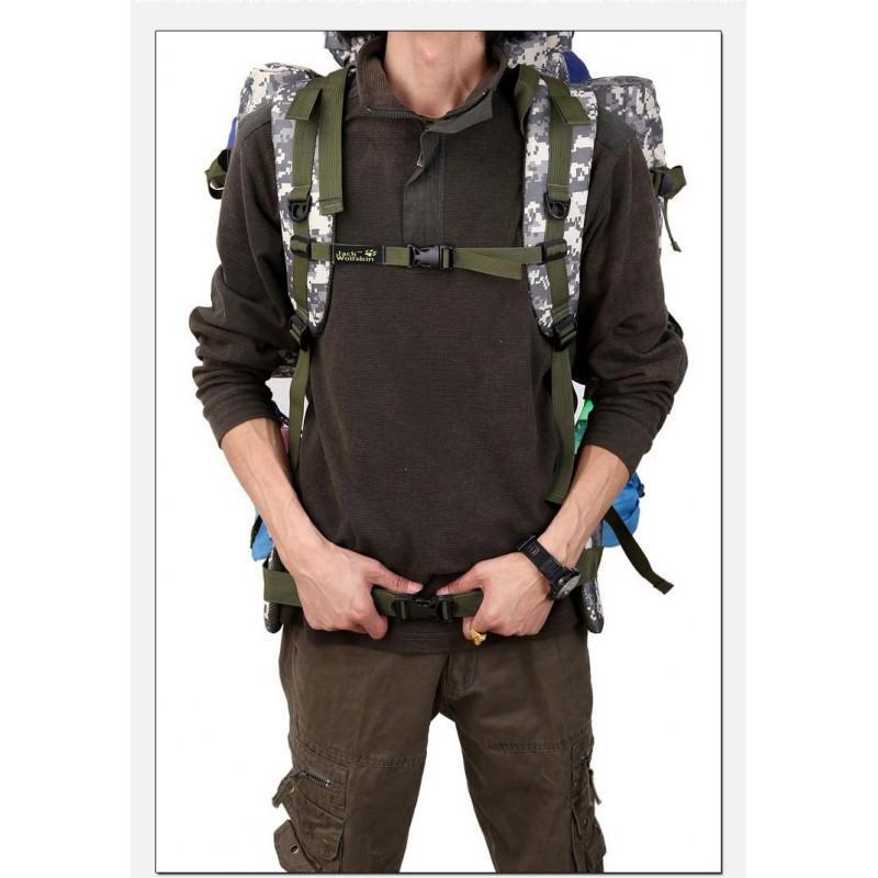 Комплект: Камуфляжный туристический рюкзак Jack Wolfskin 80 л с системой M.O.L.L.E + Портативное солнечное зарядное 7 Вт 194497